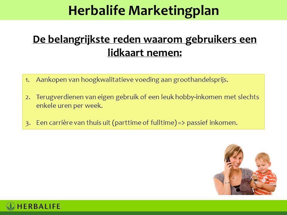 Herbalife Marketingplan 1.Aankopen van hoogkwalitatieve voeding aan groothandelsprijs.