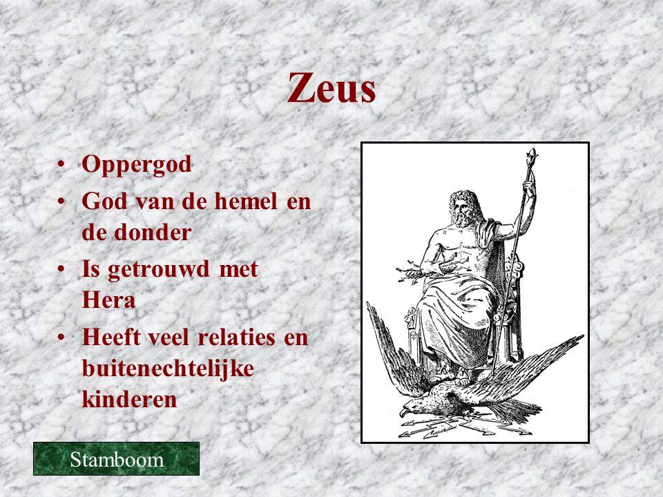 Zeus •Oppergod •God van de hemel en de donder •Is getrouwd met Hera •Heeft veel relaties en buitenechtelijke kinderen Stamboom