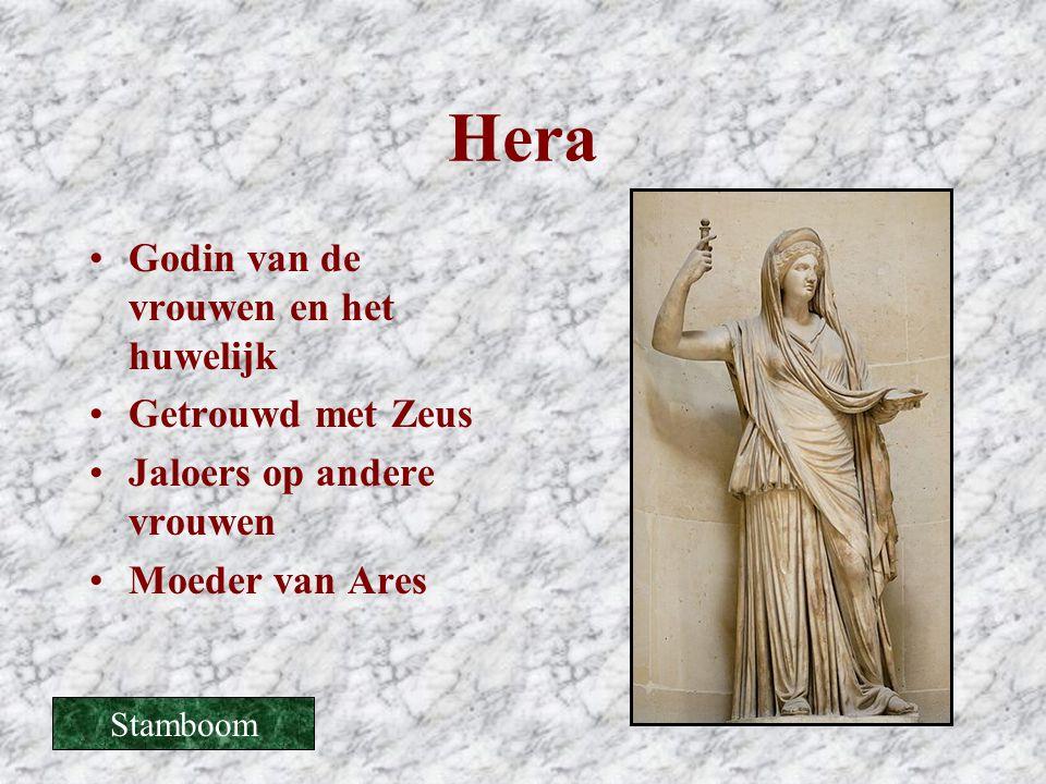 Hera •Godin van de vrouwen en het huwelijk •Getrouwd met Zeus •Jaloers op andere vrouwen •Moeder van Ares Stamboom