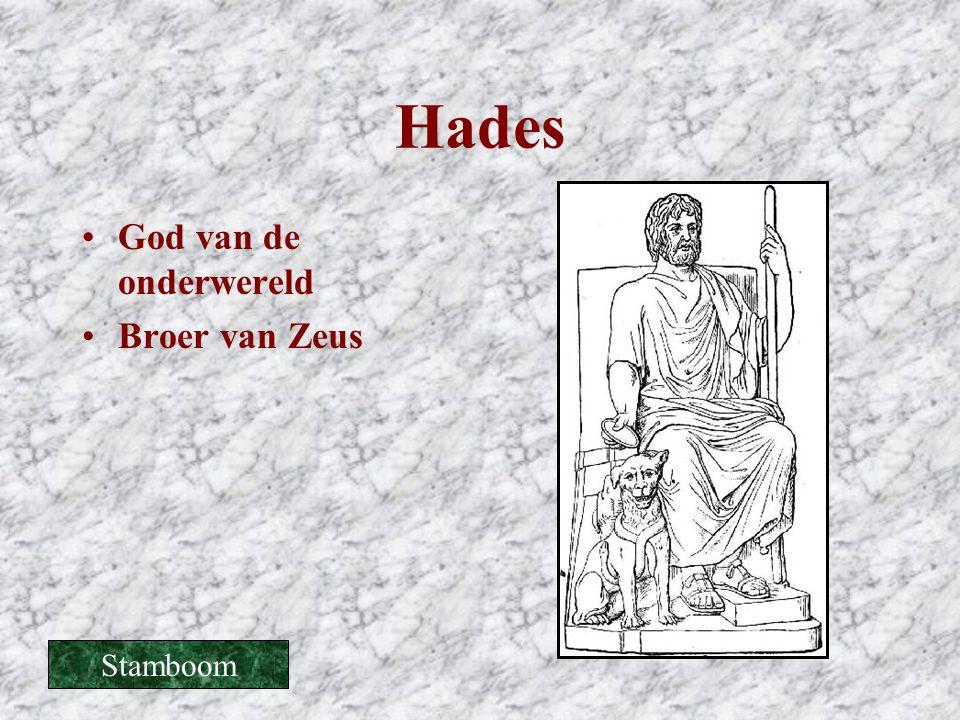 Hades •God van de onderwereld •Broer van Zeus Stamboom