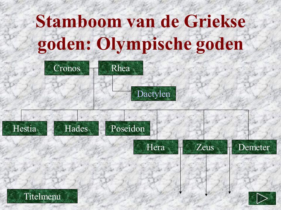 Stamboom van de Griekse goden: Olympische goden CronosRhea Dactylen Zeus PoseidonHades DemeterHera Hestia Titelmenu