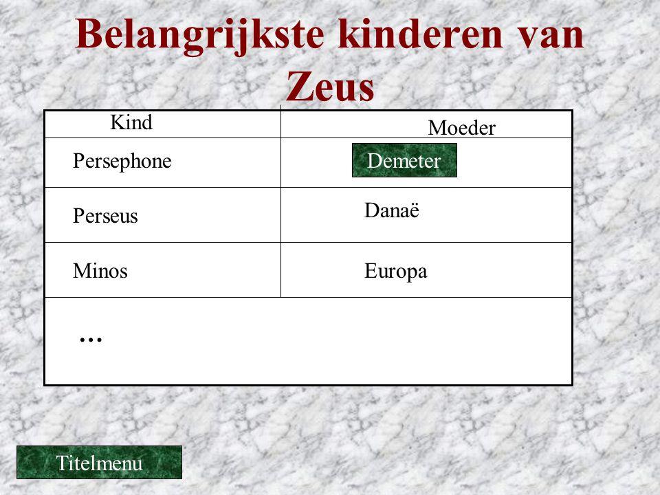 Belangrijkste kinderen van Zeus Kind Moeder Danaë Perseus MinosEuropa … Demeter Persephone Titelmenu