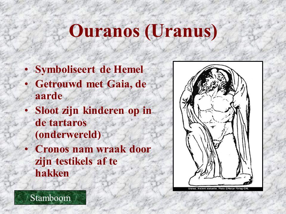 Ouranos (Uranus) •Symboliseert de Hemel •Getrouwd met Gaia, de aarde •Sloot zijn kinderen op in de tartaros (onderwereld) •Cronos nam wraak door zijn