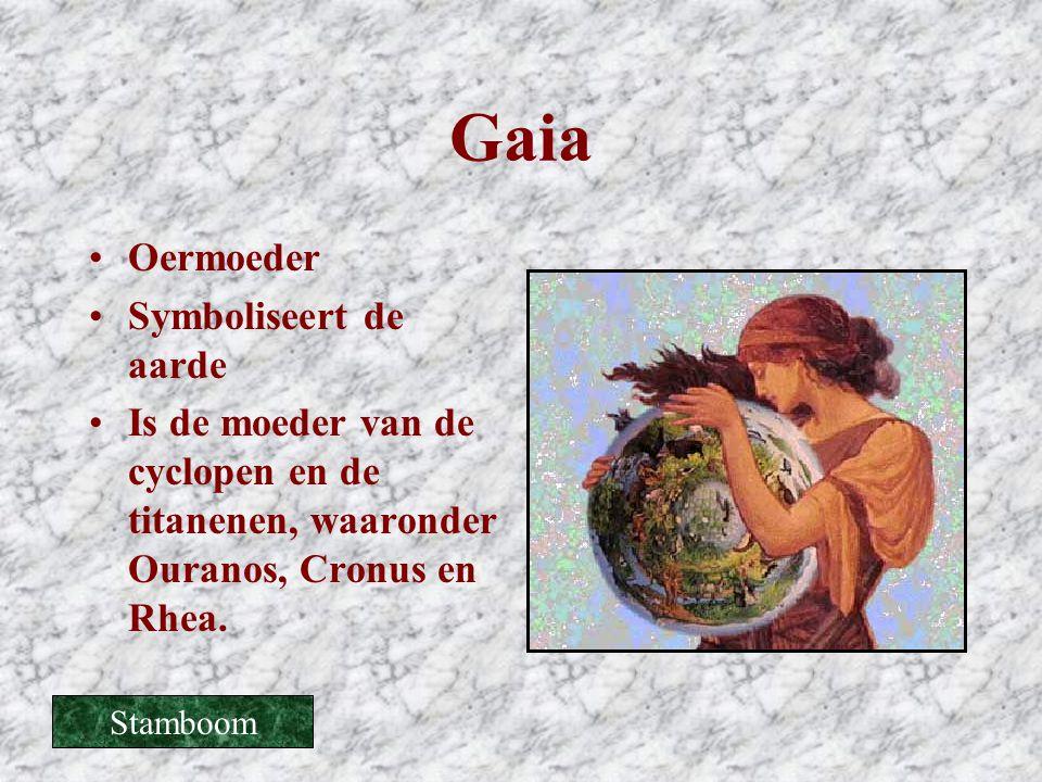 Gaia •Oermoeder •Symboliseert de aarde •Is de moeder van de cyclopen en de titanenen, waaronder Ouranos, Cronus en Rhea. Stamboom