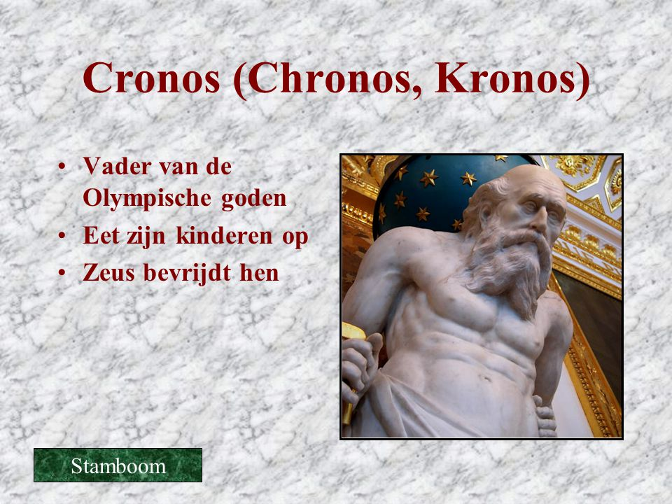 Cronos (Chronos, Kronos) •Vader van de Olympische goden •Eet zijn kinderen op •Zeus bevrijdt hen Stamboom