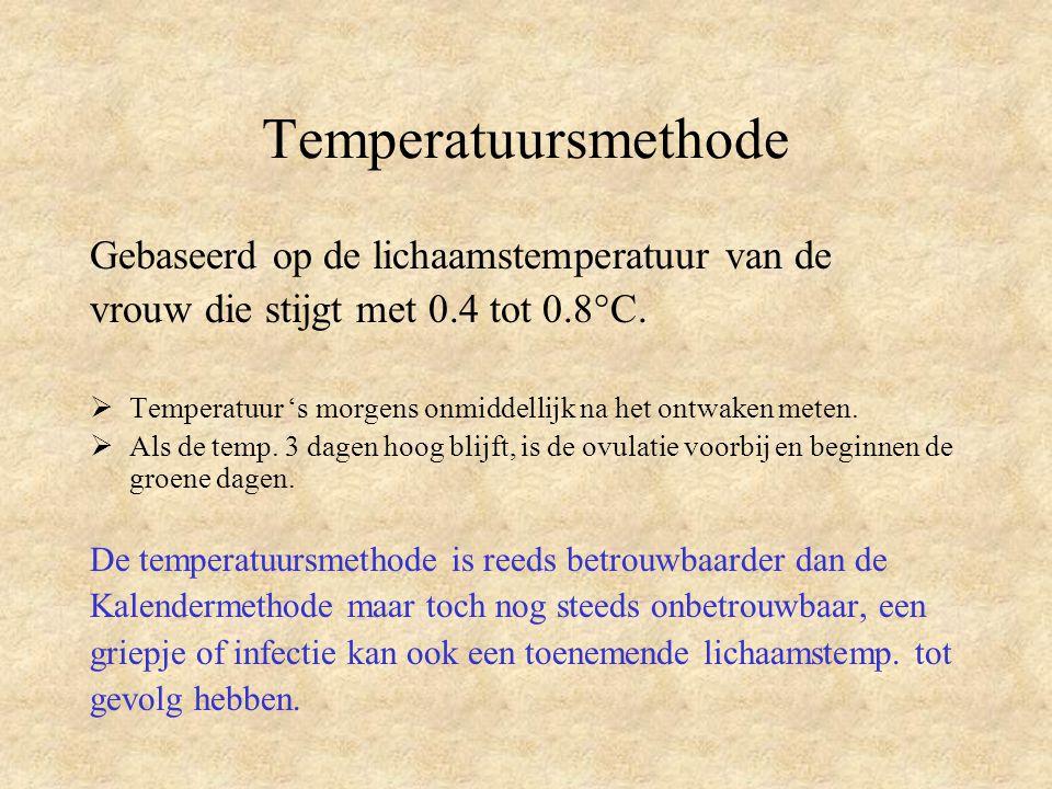 Temperatuursmethode Gebaseerd op de lichaamstemperatuur van de vrouw die stijgt met 0.4 tot 0.8°C.  Temperatuur 's morgens onmiddellijk na het ontwak