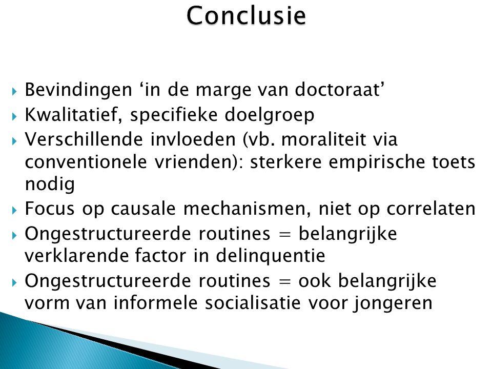  Bevindingen 'in de marge van doctoraat'  Kwalitatief, specifieke doelgroep  Verschillende invloeden (vb.