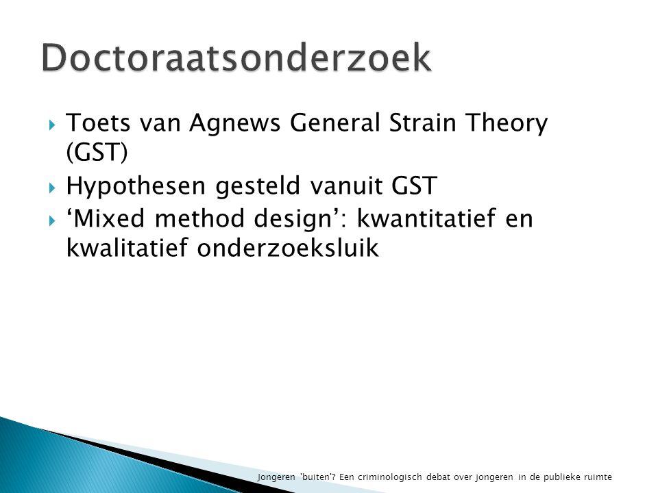  Toets van Agnews General Strain Theory (GST)  Hypothesen gesteld vanuit GST  'Mixed method design': kwantitatief en kwalitatief onderzoeksluik Jongeren buiten .