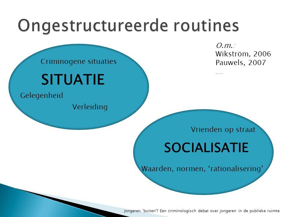 SITUATIE SOCIALISATIE Criminogene situaties Gelegenheid Verleiding Vrienden op straat Waarden, normen, 'rationalisering' O.m.: Wikström, 2006 Pauwels, 2007 …