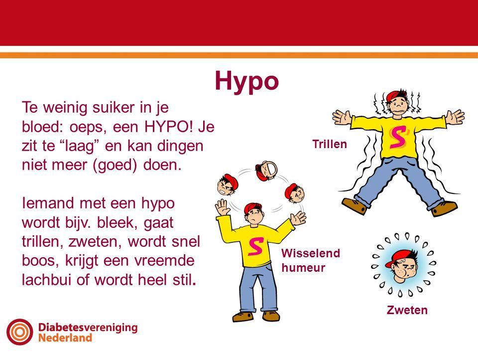 """Hypo Te weinig suiker in je bloed: oeps, een HYPO! Je zit te """"laag"""" en kan dingen niet meer (goed) doen. Iemand met een hypo wordt bijv. bleek, gaat t"""