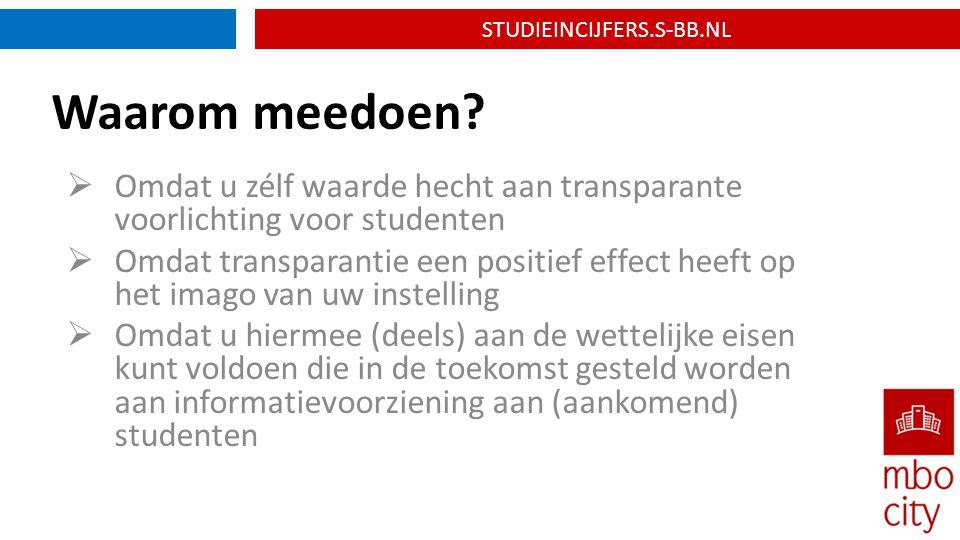 STUDIEINCIJFERS.S-BB.NL Waarom meedoen.