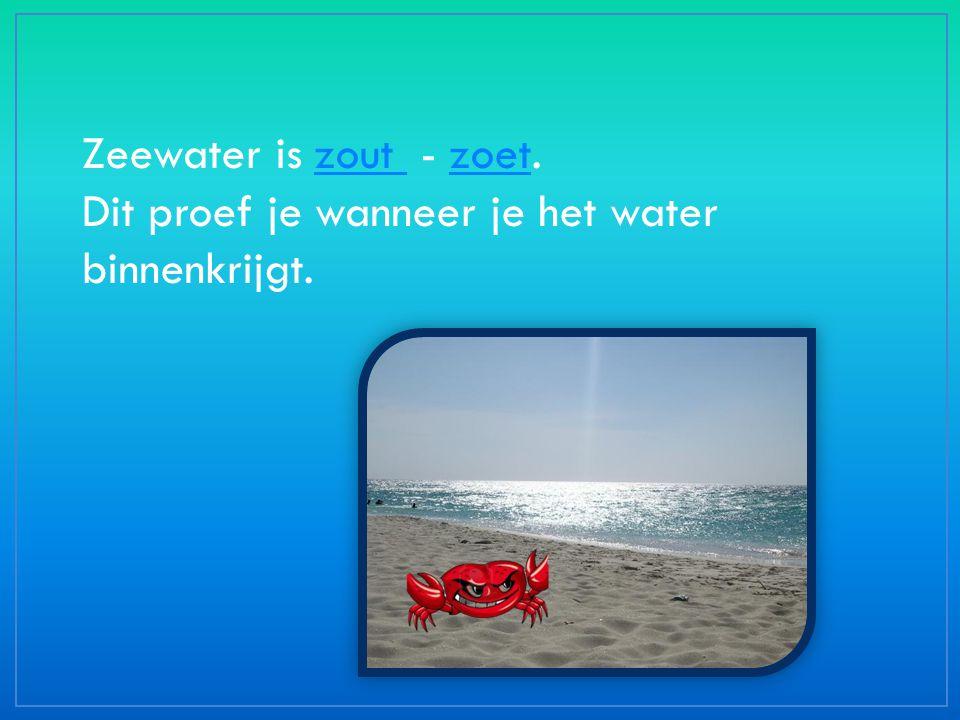 Zeewater is zout - zoet.zout zoet Dit proef je wanneer je het water binnenkrijgt.