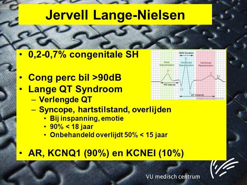 Jervell Lange-Nielsen •0,2-0,7% congenitale SH •Cong perc bil >90dB •Lange QT Syndroom –Verlengde QT –Syncope, hartstilstand, overlijden •Bij inspanning, emotie •90% < 18 jaar •Onbehandeld overlijdt 50% < 15 jaar •AR, KCNQ1 (90%) en KCNEI (10%)