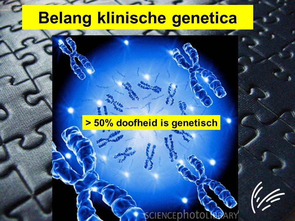 Niet-syndromale SH Autosomaal Recessief 80% Autosomaal Dominant 20% X-gebonden <1%Mitochondriaal <1% Prelinguaaljanee