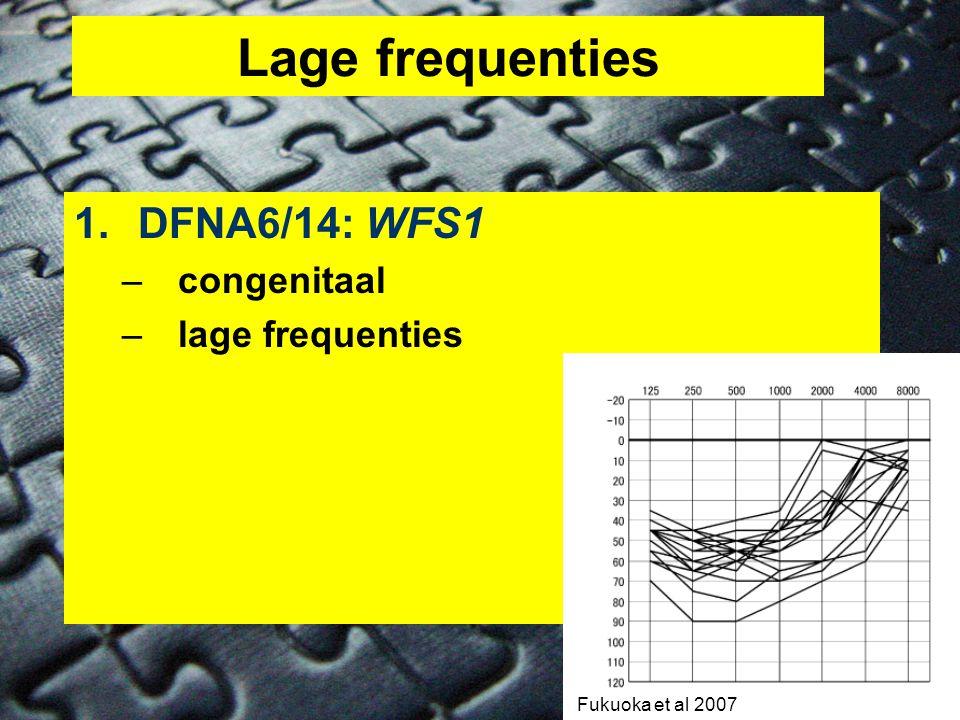 Lage frequenties 1.DFNA6/14: WFS1 –congenitaal –lage frequenties Fukuoka et al 2007