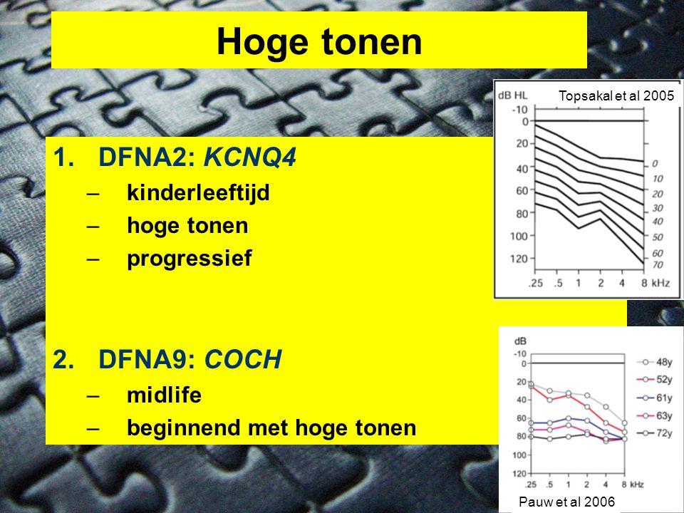 Hoge tonen 1.DFNA2: KCNQ4 –kinderleeftijd –hoge tonen –progressief 2.DFNA9: COCH –midlife –beginnend met hoge tonen Topsakal et al 2005 Pauw et al 2006