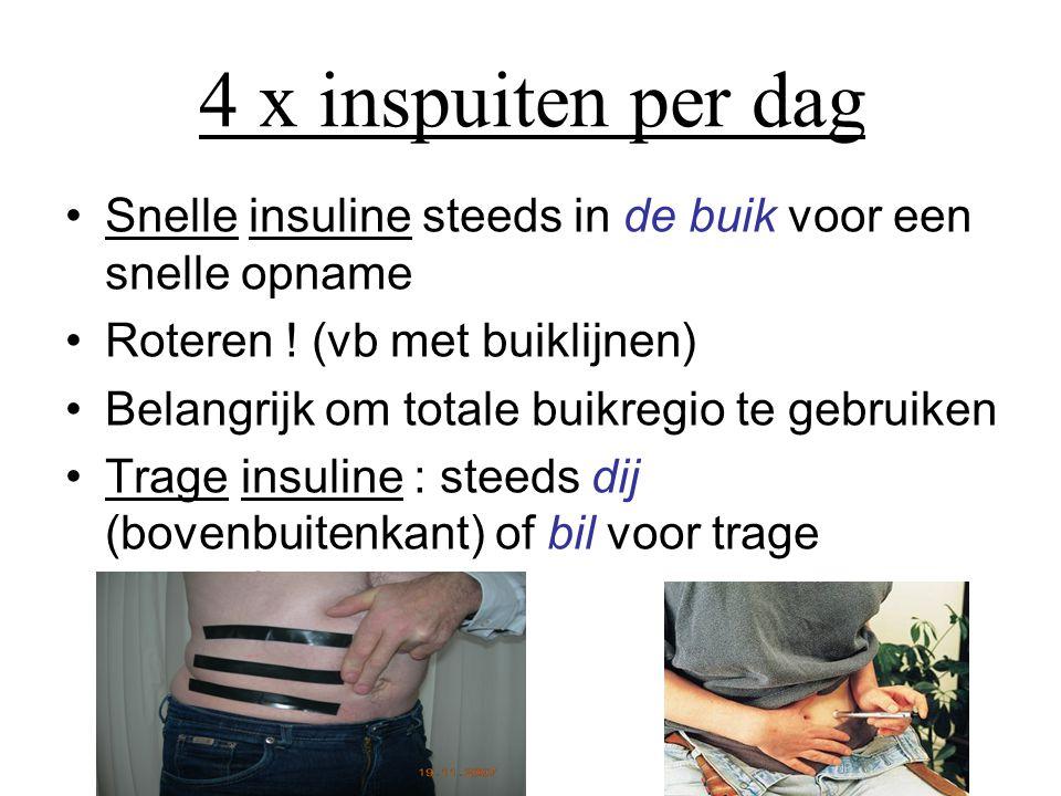 4 x inspuiten per dag •Snelle insuline steeds in de buik voor een snelle opname •Roteren .