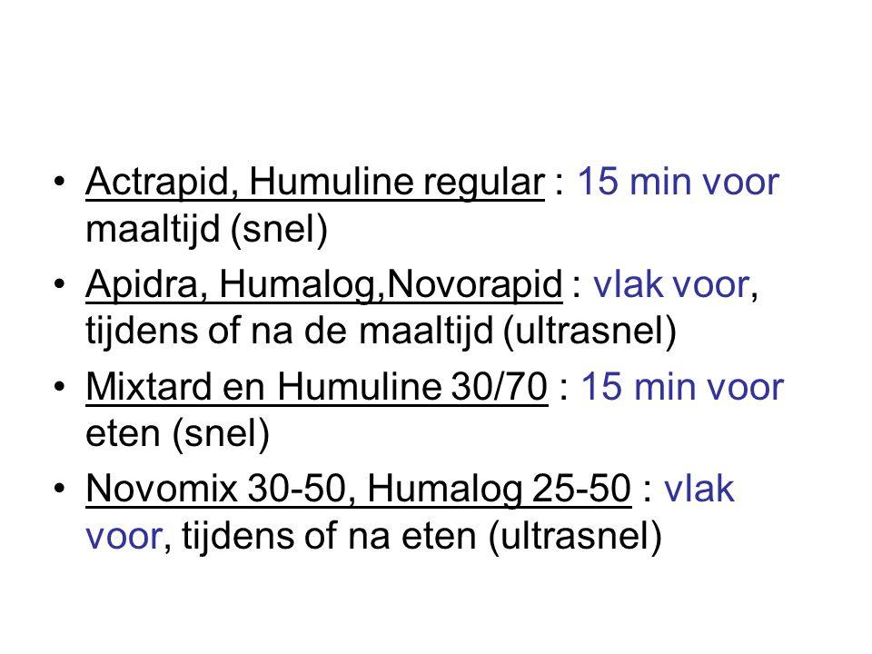 •Actrapid, Humuline regular : 15 min voor maaltijd (snel) •Apidra, Humalog,Novorapid : vlak voor, tijdens of na de maaltijd (ultrasnel) •Mixtard en Humuline 30/70 : 15 min voor eten (snel) •Novomix 30-50, Humalog 25-50 : vlak voor, tijdens of na eten (ultrasnel)