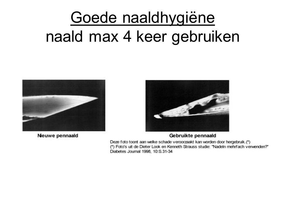 Goede naaldhygiëne naald max 4 keer gebruiken