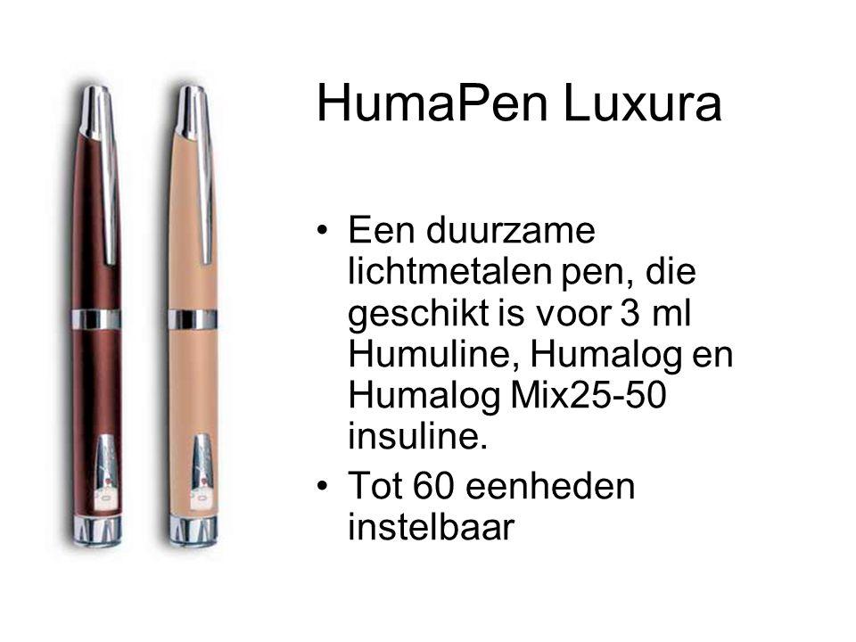 HumaPen Luxura •Een duurzame lichtmetalen pen, die geschikt is voor 3 ml Humuline, Humalog en Humalog Mix25-50 insuline.