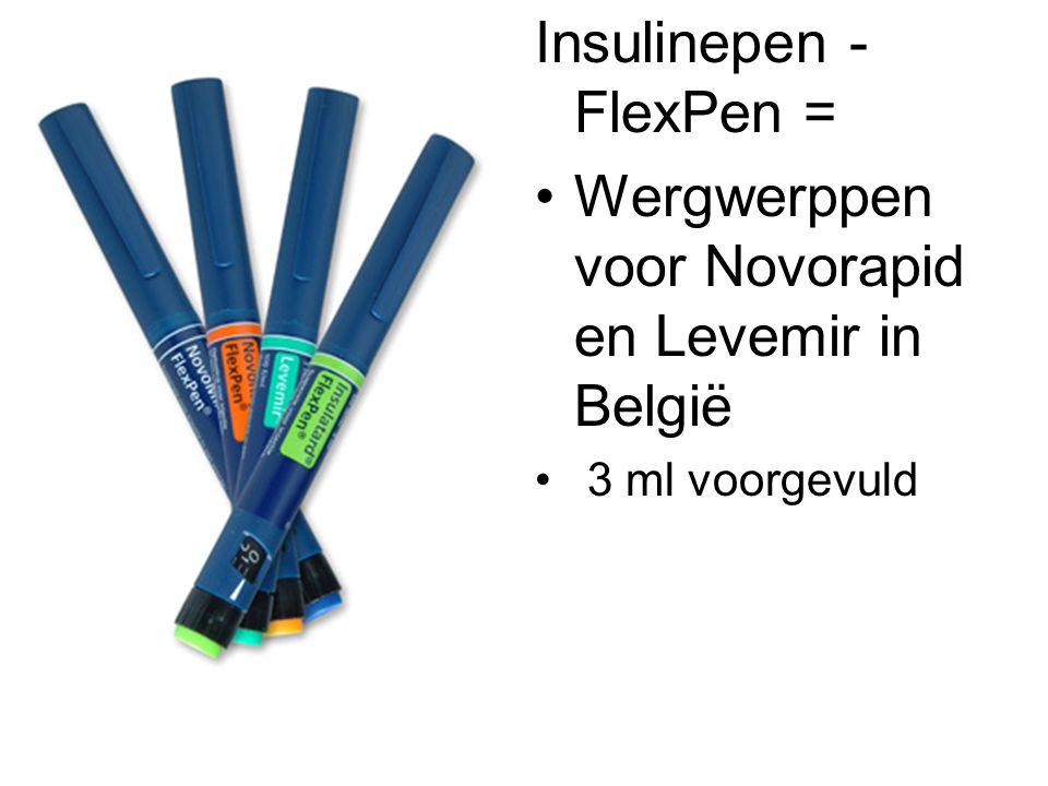 Insulinepen - FlexPen = •Wergwerppen voor Novorapid en Levemir in België • 3 ml voorgevuld