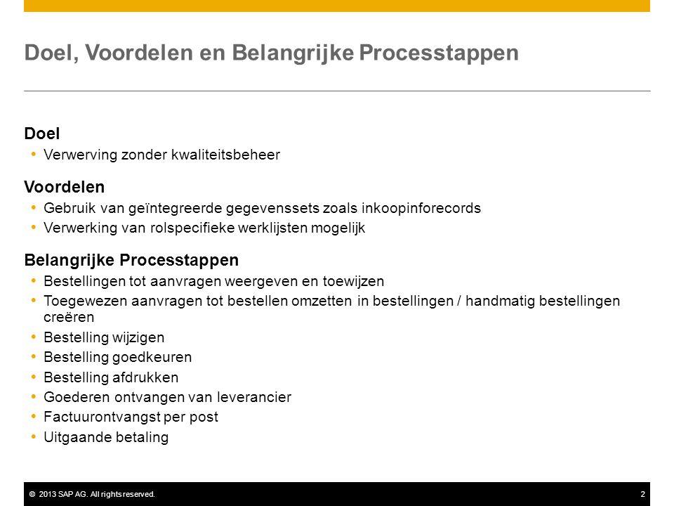 ©2013 SAP AG. All rights reserved.2 Doel, Voordelen en Belangrijke Processtappen Doel  Verwerving zonder kwaliteitsbeheer Voordelen  Gebruik van geï
