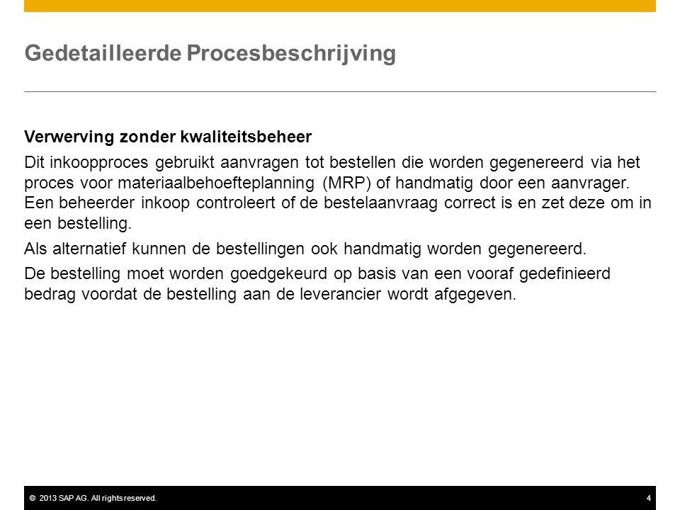 ©2013 SAP AG. All rights reserved.4 Gedetailleerde Procesbeschrijving Verwerving zonder kwaliteitsbeheer Dit inkoopproces gebruikt aanvragen tot beste