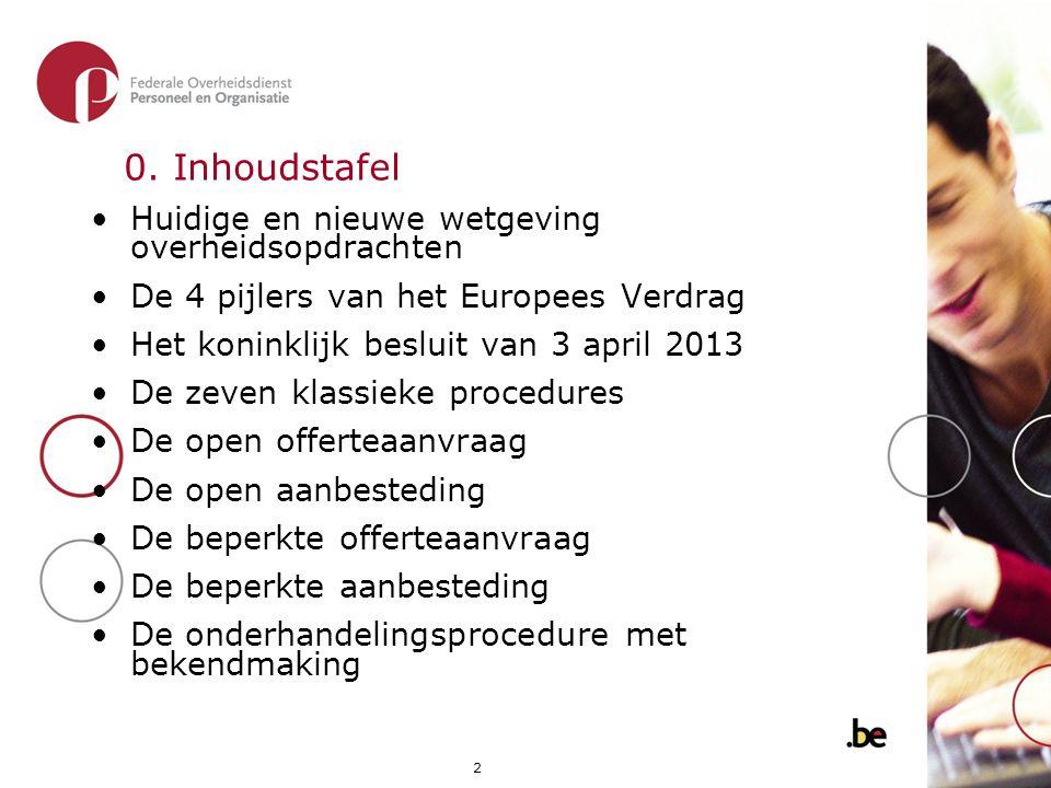 2 0. Inhoudstafel •Huidige en nieuwe wetgeving overheidsopdrachten •De 4 pijlers van het Europees Verdrag •Het koninklijk besluit van 3 april 2013 •De