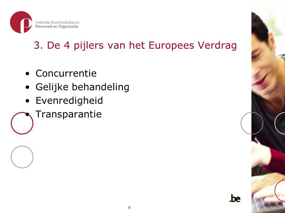 6 3. De 4 pijlers van het Europees Verdrag •Concurrentie •Gelijke behandeling •Evenredigheid •Transparantie