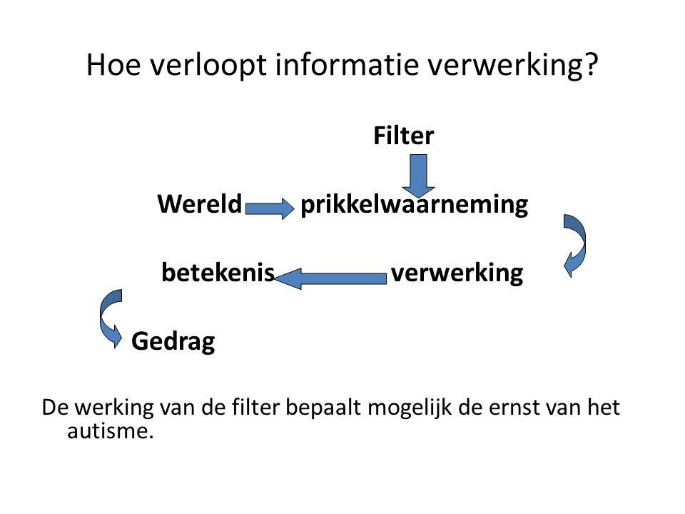 Hoe verloopt informatie verwerking? Filter Wereld prikkelwaarneming betekenis verwerking Gedrag De werking van de filter bepaalt mogelijk de ernst van