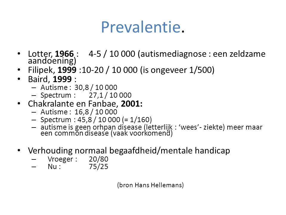 Prevalentie. • Lotter, 1966 : 4-5 / 10 000 (autismediagnose : een zeldzame aandoening) • Filipek, 1999 :10-20 / 10 000 (is ongeveer 1/500) • Baird, 19
