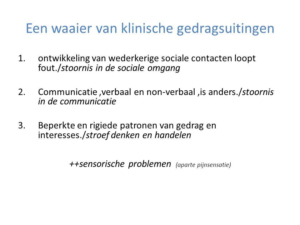 1.ontwikkeling van wederkerige sociale contacten loopt fout./stoornis in de sociale omgang 2.Communicatie,verbaal en non-verbaal,is anders./stoornis i