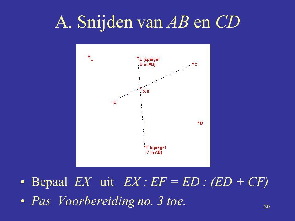 20 A. Snijden van AB en CD •Bepaal EX uit EX : EF = ED : (ED + CF) •Pas Voorbereiding no. 3 toe.