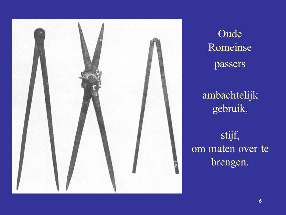 6 Oude Romeinse passers ambachtelijk gebruik, stijf, om maten over te brengen. •-•-