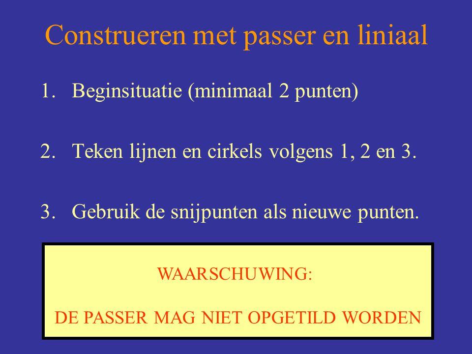 9 WAARSCHUWING: DE PASSER MAG NIET OPGETILD WORDEN Construeren met passer en liniaal 1.Beginsituatie (minimaal 2 punten) 2.Teken lijnen en cirkels vol