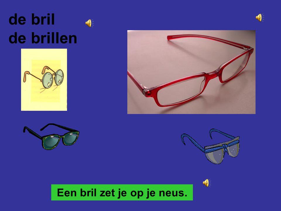 Een bril zet je op je neus. de bril de brillen