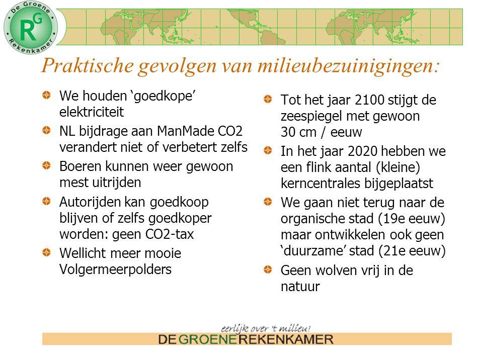 Praktische gevolgen van milieubezuinigingen: We houden 'goedkope' elektriciteit NL bijdrage aan ManMade CO2 verandert niet of verbetert zelfs Boeren kunnen weer gewoon mest uitrijden Autorijden kan goedkoop blijven of zelfs goedkoper worden: geen CO2-tax Wellicht meer mooie Volgermeerpolders Tot het jaar 2100 stijgt de zeespiegel met gewoon 30 cm / eeuw In het jaar 2020 hebben we een flink aantal (kleine) kerncentrales bijgeplaatst We gaan niet terug naar de organische stad (19e eeuw) maar ontwikkelen ook geen 'duurzame' stad (21e eeuw) Geen wolven vrij in de natuur