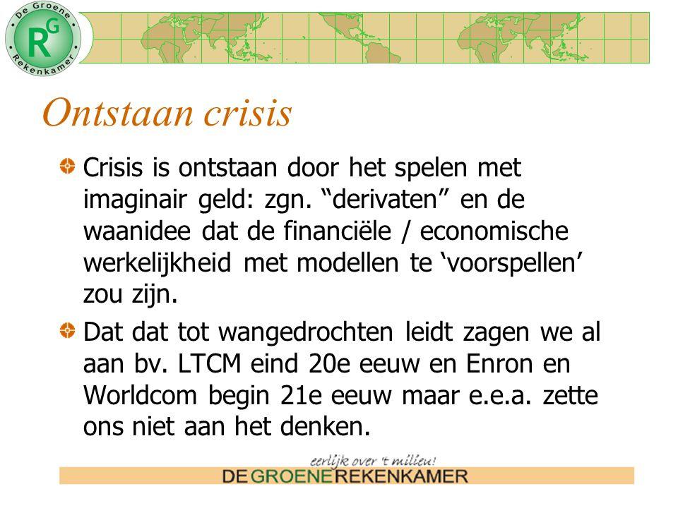 Ontstaan crisis Crisis is ontstaan door het spelen met imaginair geld: zgn.