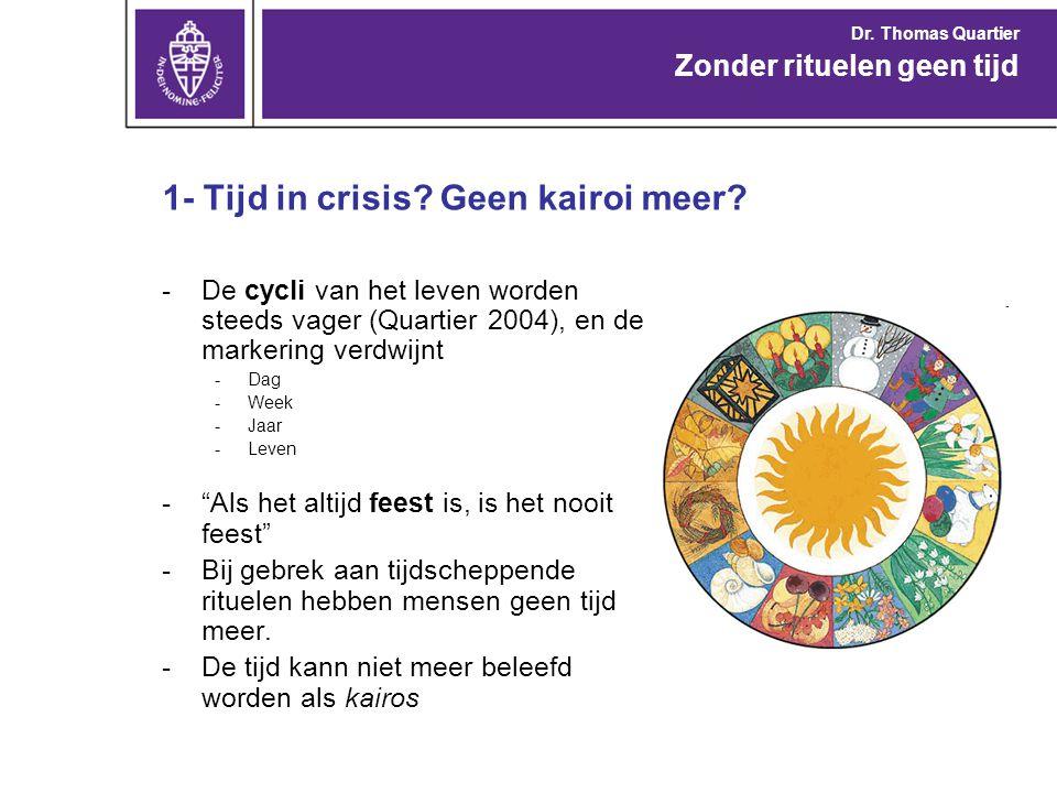 """1- Tijd in crisis? Geen kairoi meer? -De cycli van het leven worden steeds vager (Quartier 2004), en de markering verdwijnt -Dag -Week -Jaar -Leven -"""""""