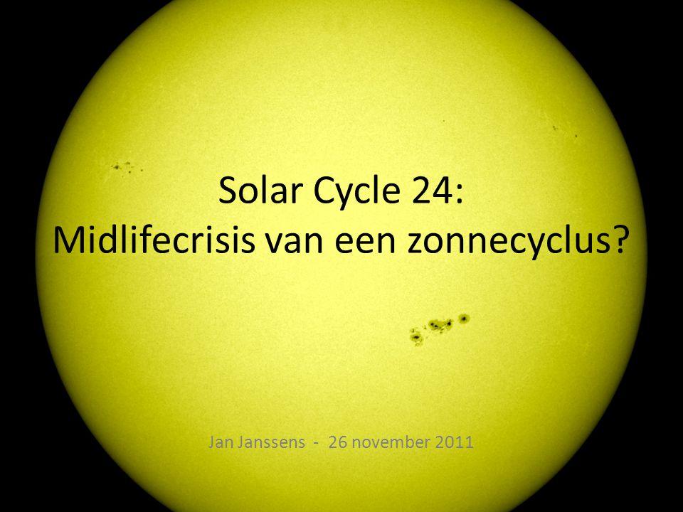 Verloop van SC24 2010: Langzame stijging • Meestal kleine groepen • Eerste M-flare – M2,3 op 19 Jan 10 • Laatste: 25 Mar 08… – 2010: totaal 23 M-flares • Eerste proton flare – 14 Aug 2010; 14 pfu • C4 in NOAA 1093 • Veel erupties van fila- menten/protuberansen – Armada aan zonnesatellieten?...