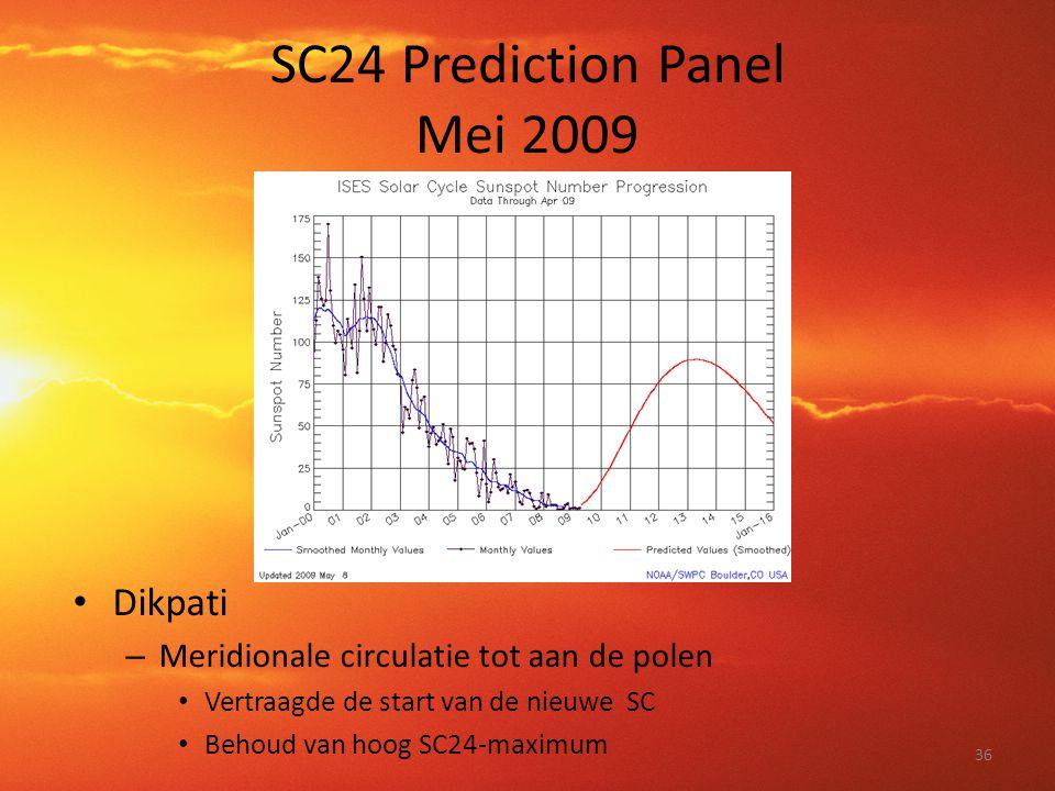 SC24 Prediction Panel Mei 2009 • Dikpati – Meridionale circulatie tot aan de polen • Vertraagde de start van de nieuwe SC • Behoud van hoog SC24-maxim