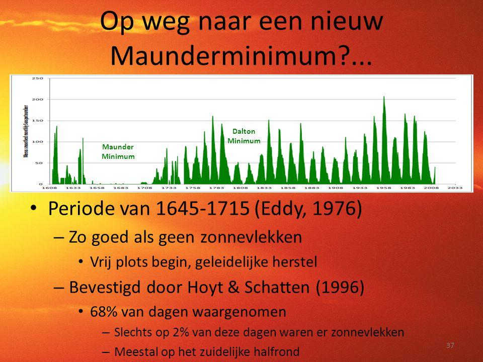 Op weg naar een nieuw Maunderminimum?... • Periode van 1645-1715 (Eddy, 1976) – Zo goed als geen zonnevlekken • Vrij plots begin, geleidelijke herstel