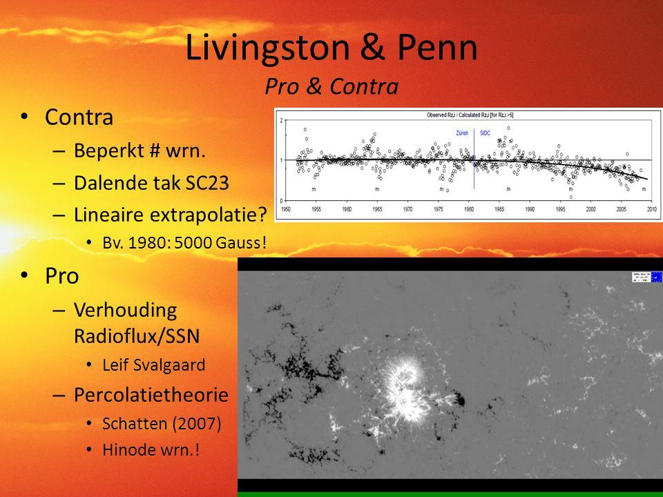 Livingston & Penn Pro & Contra • Contra – Beperkt # wrn. – Dalende tak SC23 – Lineaire extrapolatie? • Bv. 1980: 5000 Gauss! • Pro – Verhouding Radiof