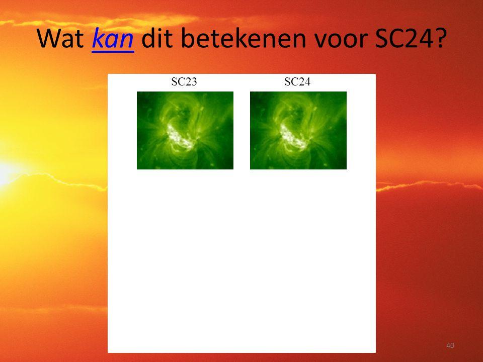Wat kan dit betekenen voor SC24? SC23SC24 40