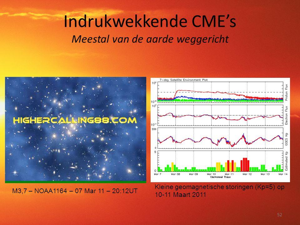 Indrukwekkende CME's Meestal van de aarde weggericht 52 M3,7 – NOAA1164 – 07 Mar 11 – 20:12UT Kleine geomagnetische storingen (Kp=5) op 10-11 Maart 20