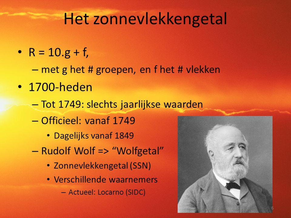 Het zonnevlekkengetal • R = 10.g + f, – met g het # groepen, en f het # vlekken • 1700-heden – Tot 1749: slechts jaarlijkse waarden – Officieel: vanaf