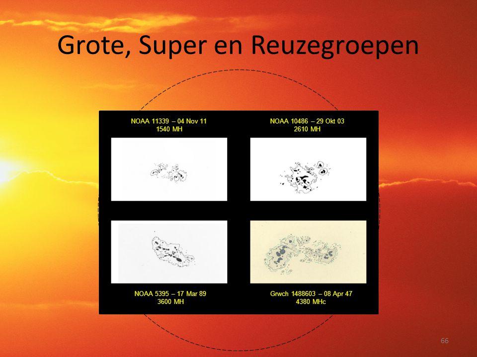 Grote, Super en Reuzegroepen 66 NOAA 11339 – 04 Nov 11 1540 MH NOAA 10486 – 29 Okt 03 2610 MH NOAA 5395 – 17 Mar 89 3600 MH Grwch 1488603 – 08 Apr 47