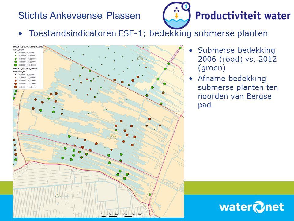 •Toestandsindicatoren ESF-1; bedekking submerse planten •Submerse bedekking 2006 (rood) vs. 2012 (groen) •Afname bedekking submerse planten ten noorde