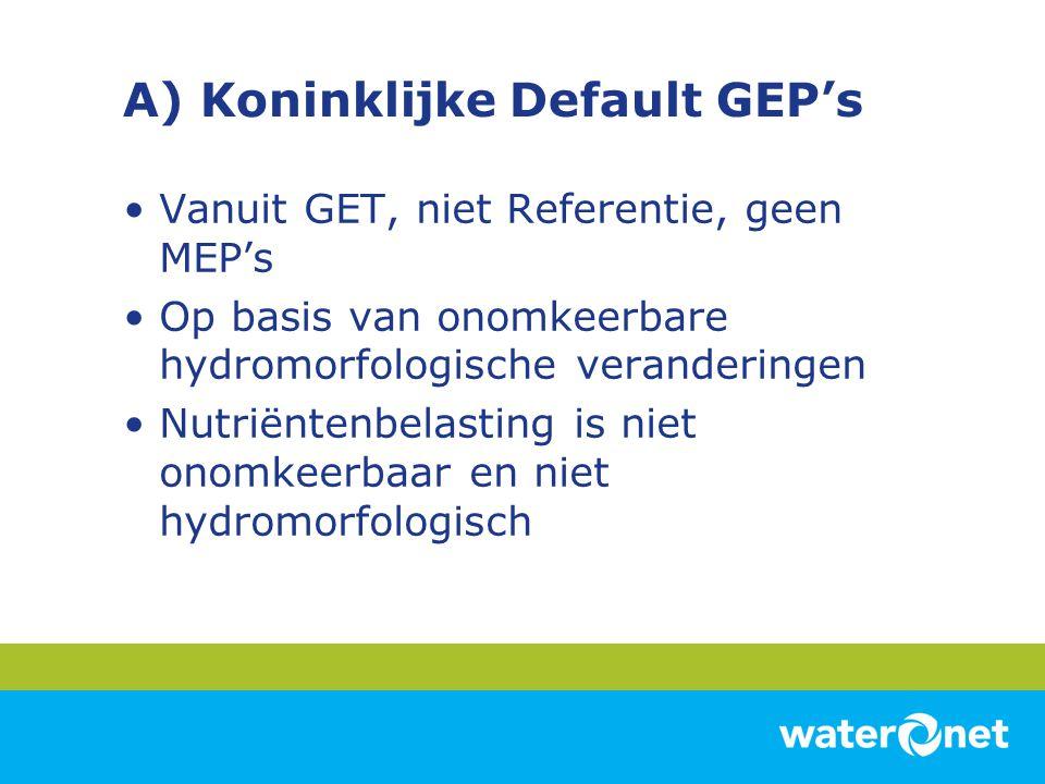 A) Default GEP's •Fytoplankton: Nutriënten gestuurd dus GEP = GET •Overige waterflora: –Submerse vegetatie: Nutriënten gestuurd dus GEP = GET –Oevervegetatie: door landgebruik afwezig; geen GEP –Emerse vegetatie: Nutriënten gestuurd; GEP = GET –Drijfbladvegetatie: niet stuurbaar: geen GEP
