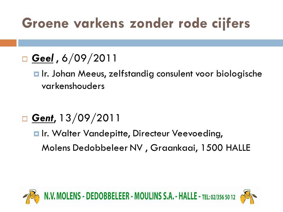 Groene varkens zonder rode cijfers  Geel, 6/09/2011  Ir. Johan Meeus, zelfstandig consulent voor biologische varkenshouders  Gent, 13/09/2011  Ir.